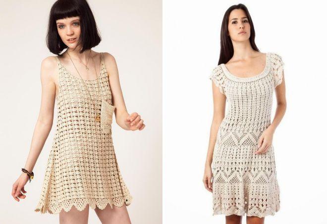 вязаные летние платья туники