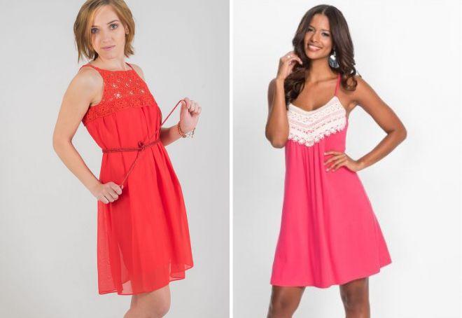 летнее платье с вязаными вставками