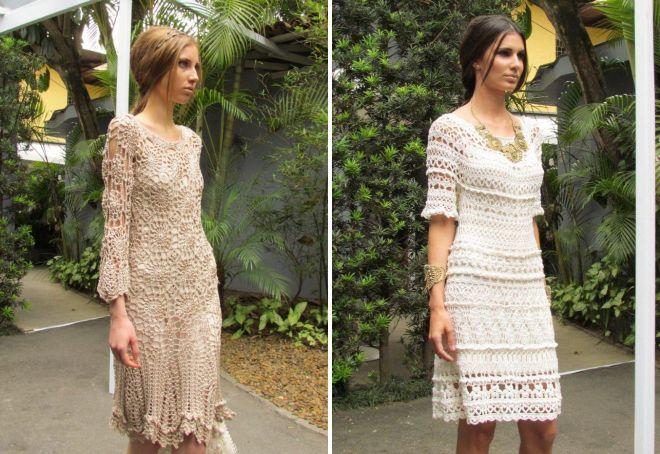 летнее вязаное платье в стиле бохо
