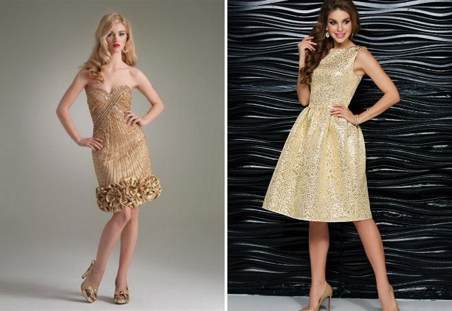 коктейльное золотое платье