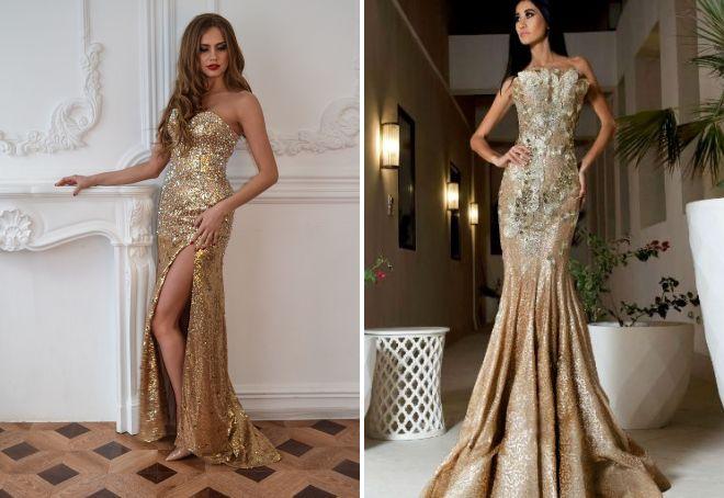 вечернее платье золотое
