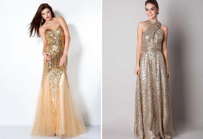 вечернее платье золотого цвета
