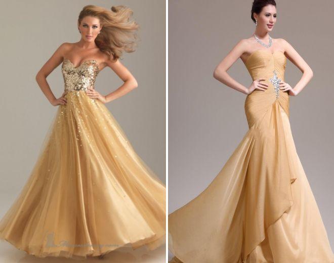 пышные платья золотого цвета