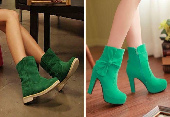 женские зеленые сапоги