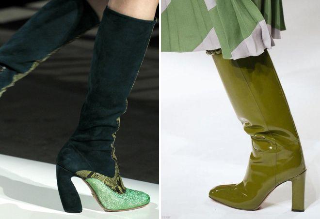 зеленые сапоги на каблуке