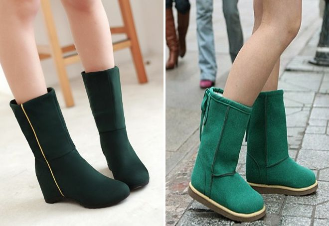 зеленые сапоги без каблука