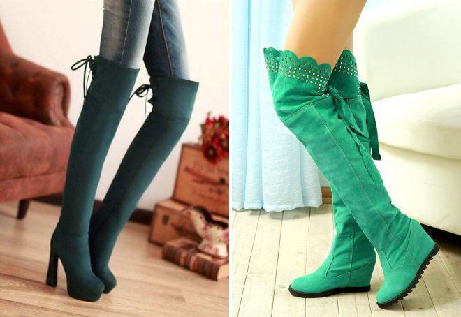 зеленые сапоги ботфорты