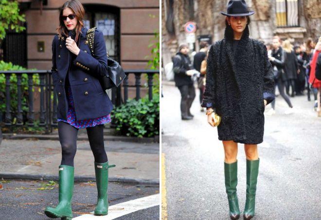 пальто под зеленые сапоги