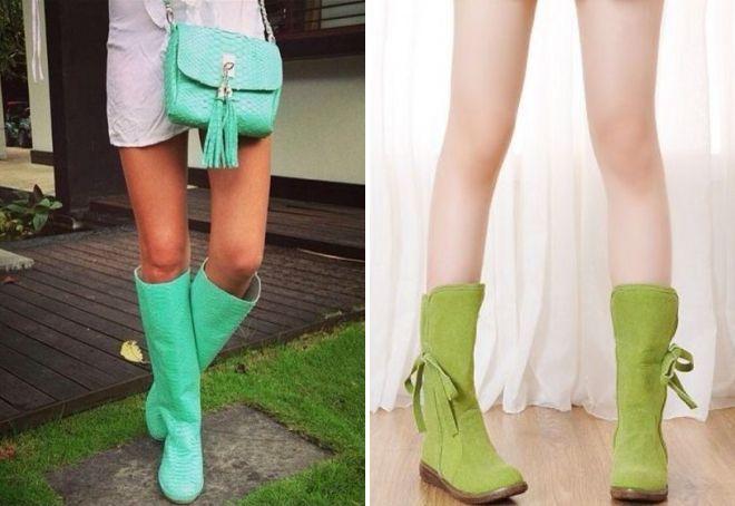 сапоги зеленого цвета