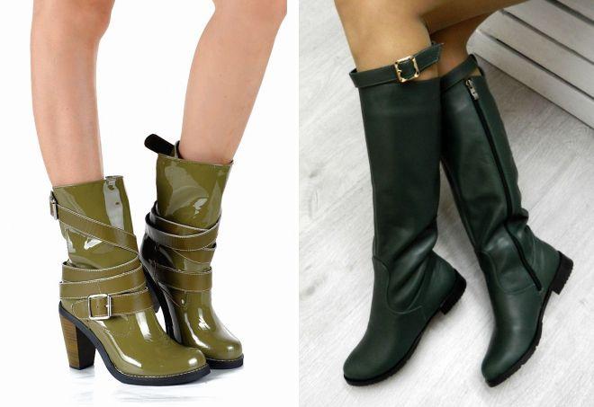 зеленые кожаные сапоги