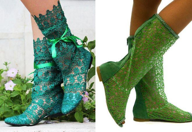 стильные зеленые сапоги