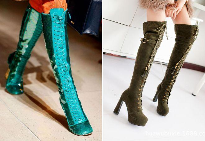 модные зеленые сапоги