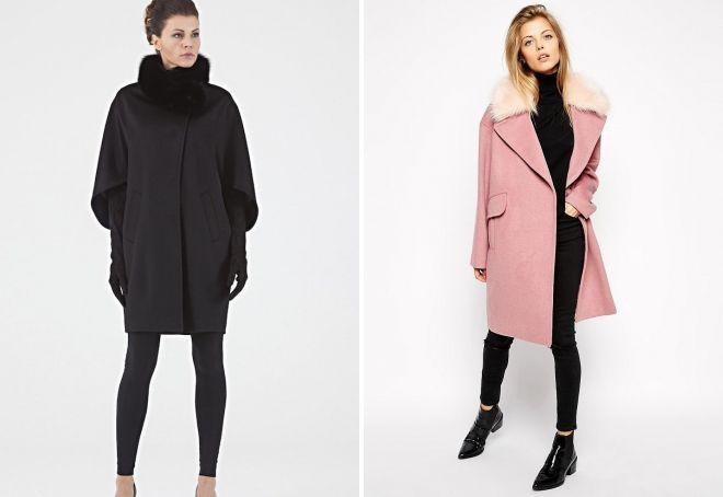 abrigo de invierno capullo con cuello de piel