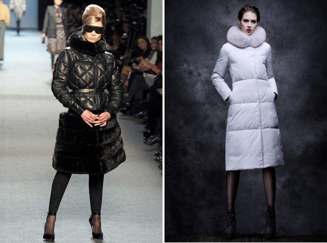 зимнее женское пальто пуховик с мехом