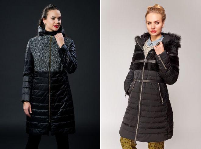 комбинированное пальто пуховик