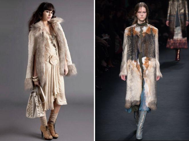 меховое пальто в стиле бохо