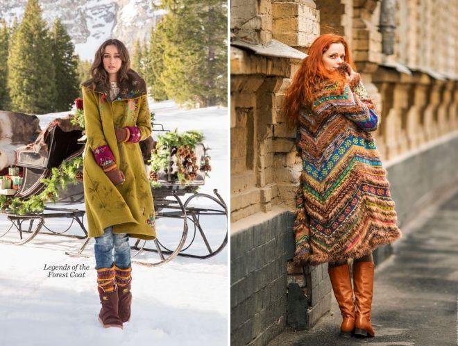 образы в стиле бохо с пальто