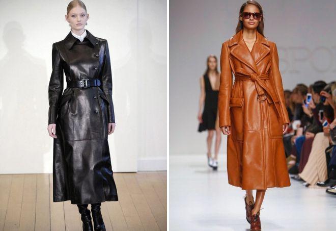 женское длинное кожаное пальто