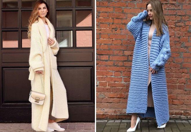 длинное вязаное пальто