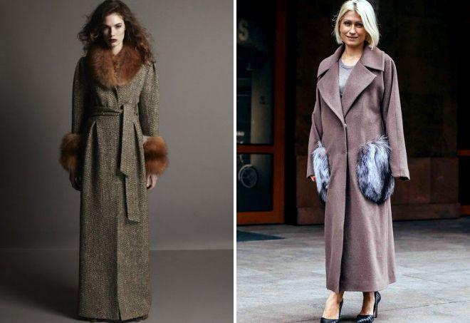 длинное пальто с мехом