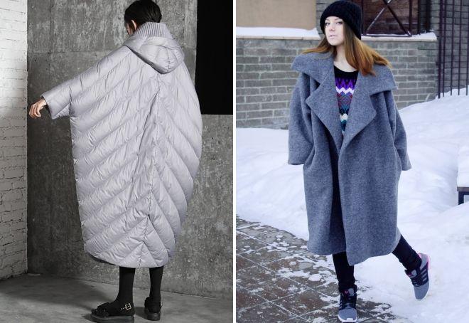 длинное пальто кокон