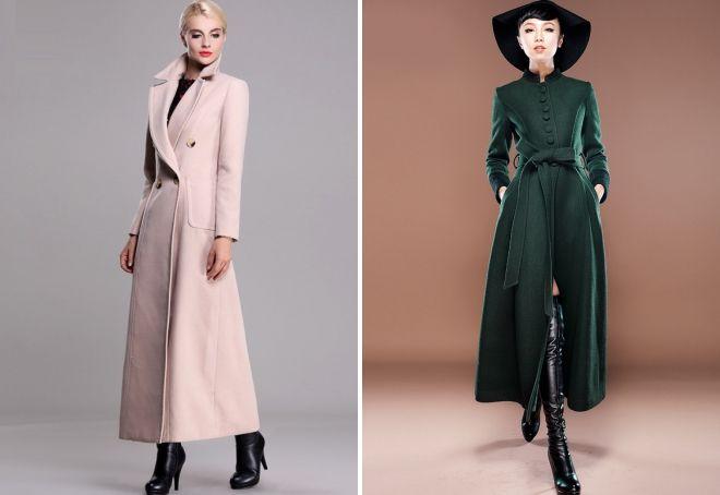 длинное приталенное пальто