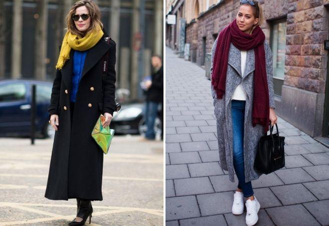 модное длинное пальто