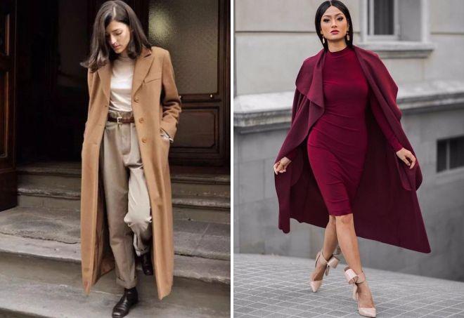 длинное шерстяное пальто
