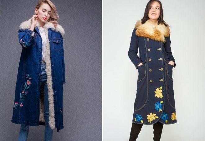 джинсовое пальто с мехом