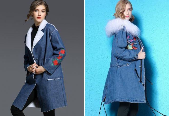 джинсовое пальто с вышивкой