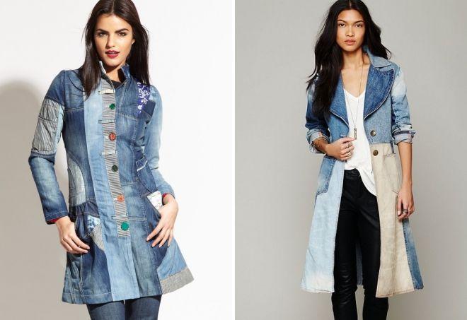 джинсовое пальто пэчворк