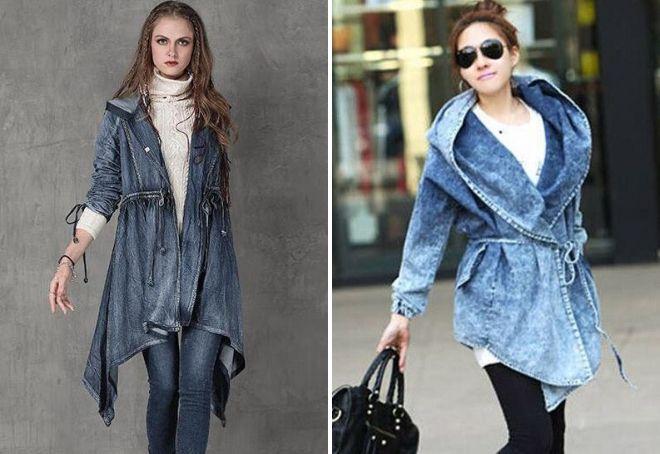 стильное джинсовое пальто