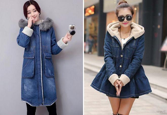 зимнее джинсовое пальто
