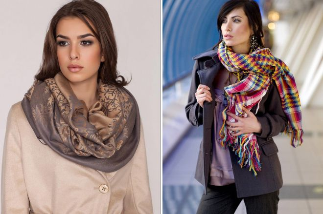как красиво завязать платок сверху пальто