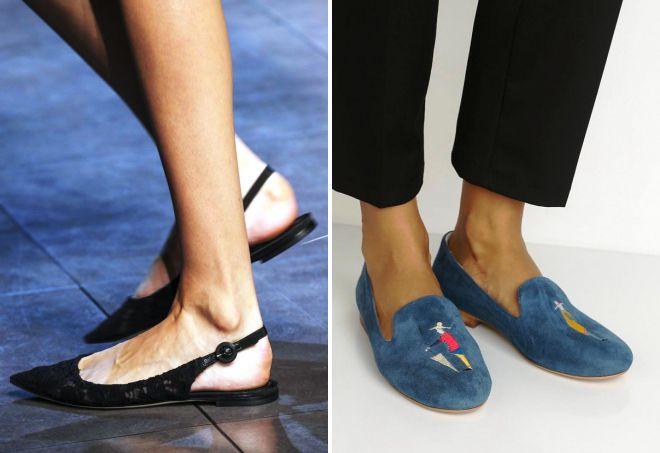 самые модные туфли без каблука 2018