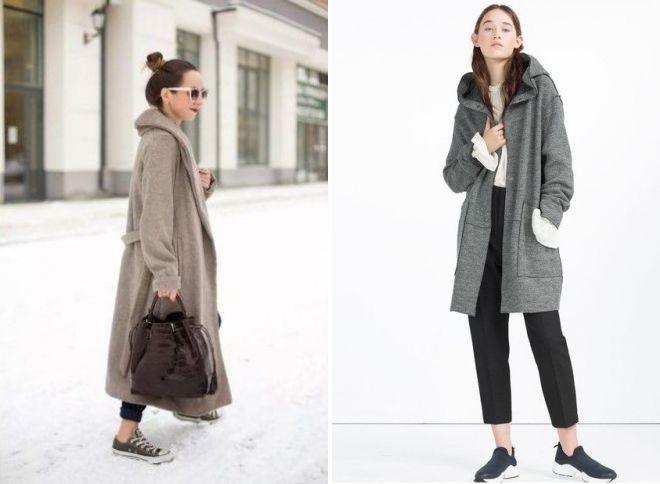 пальто zara с капюшоном