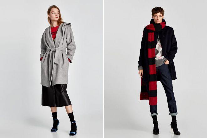 пальто халат зара с капюшоном