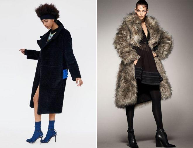 меховое пальто zara