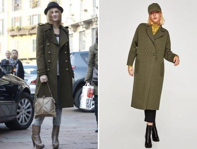 зеленое пальто zara