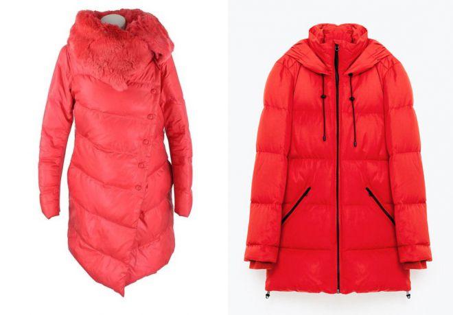 красное пальто zara