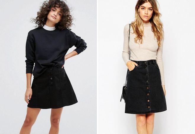 черная джинсовая юбка трапеция
