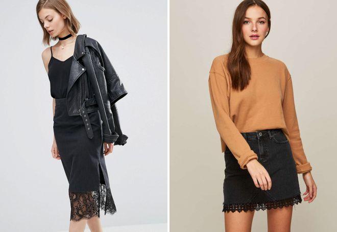 черная джинсовая юбка с кружевом