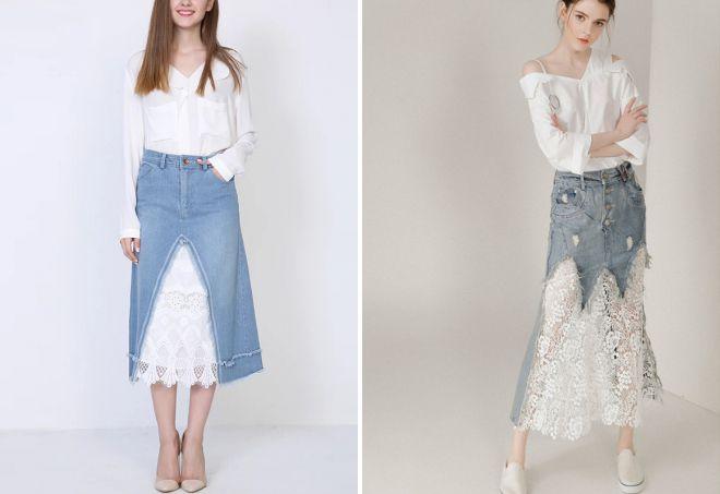 длинная джинсовая юбка с кружевом