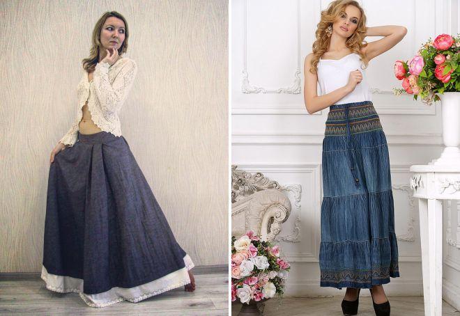 длинная джинсовая юбка бохо