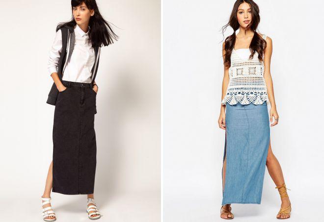 длинная джинсовая юбка с разрезом