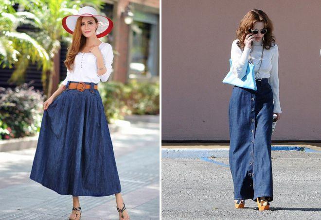красивая длинная джинсовая юбка