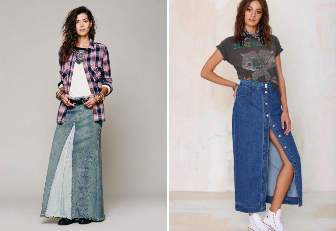фасоны длинных джинсовых юбок