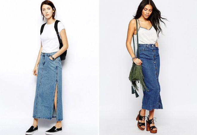джинсовые длинные прямые юбки