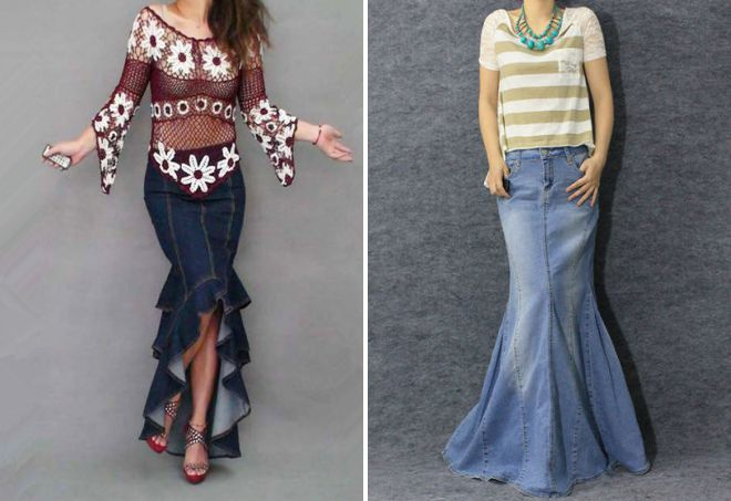 длинная джинсовая юбка годе