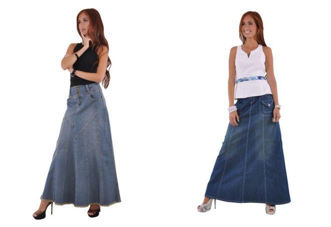 длинная джинсовая юбка клеш